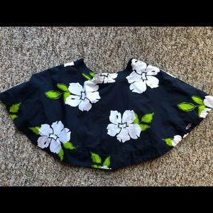 Hollister Co Tropical Flower Skirt Navy Blue Green